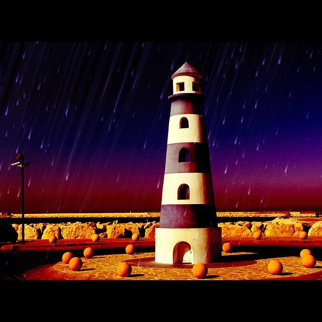 Lighthouse, Sea, Port