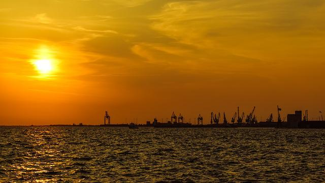 Sunset, Port, Harbor, Cranes, Afternoon, Silhouettes