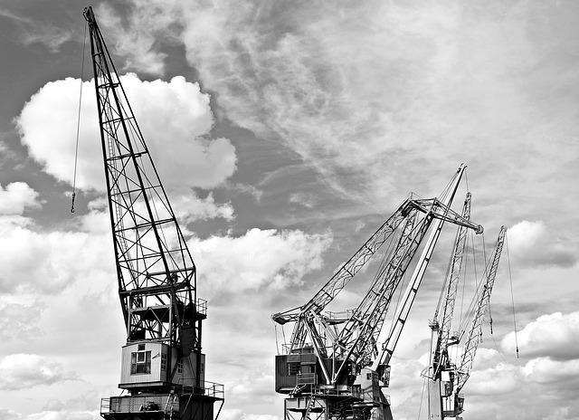 Harbour Cranes, Sky, Clouds, Industry, Port, Cranes
