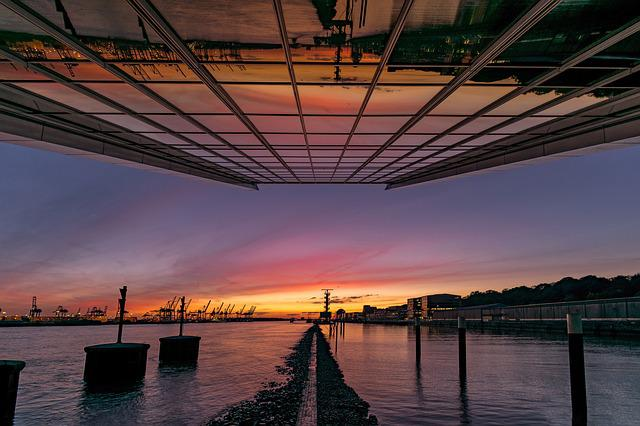 Hamburg, Dockland, Sunset, Elbe, Port, Architecture