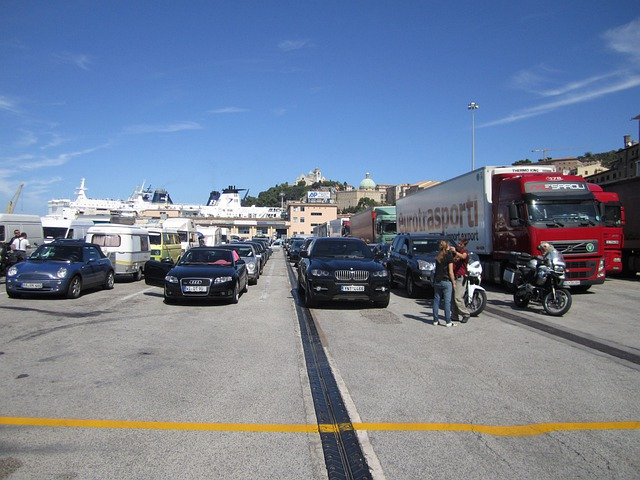 Port, Ferry, Autos, Italy, Ancona, Wait, Standing On