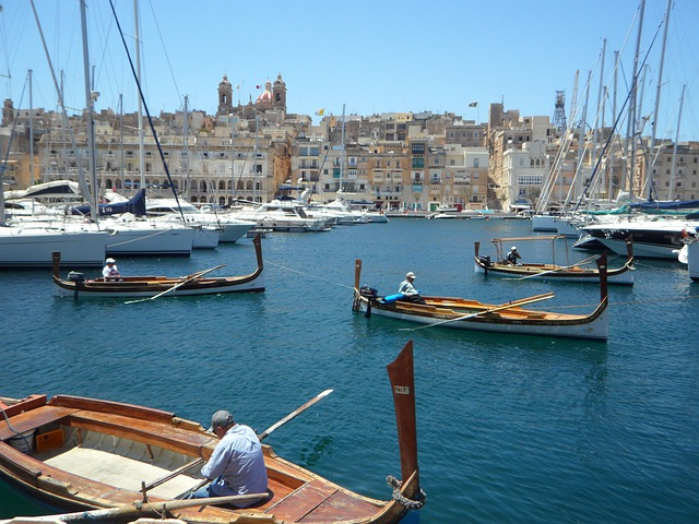 Boats, Port, Valetta, Malta, Barges, Wooden Boats