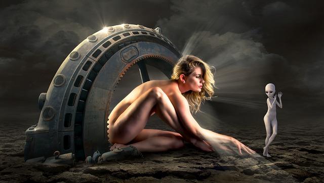 Fantasy, Woman, Alien, Portal, Sience Fiction, Gloomy