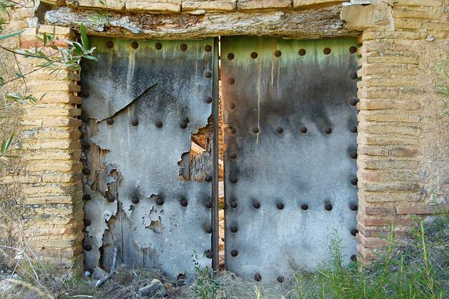Door, Portal, Old, Abandoned, Ruin, Wall, Unclean