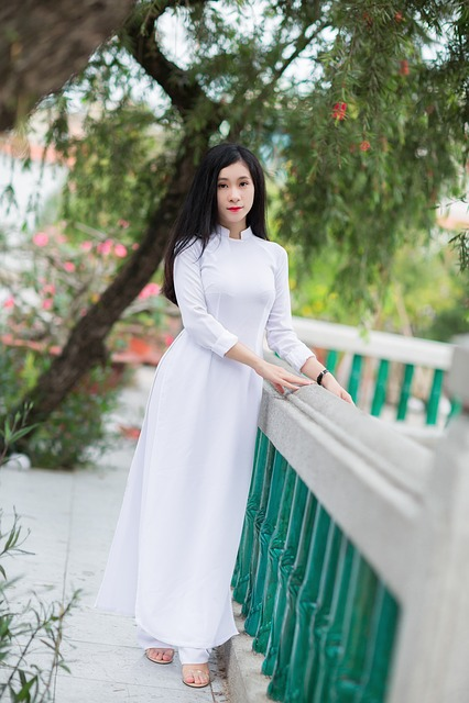 Áo Dài, White, Girl, Portrait, Vietnamese, Asian