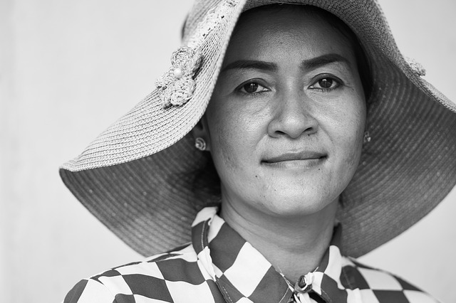 Woman, Hat, Asian, Cambodia, Portrait, Fashion