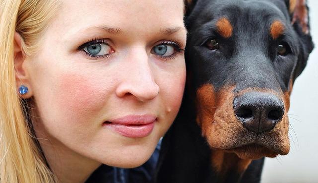 Woman, Portrait, Dog, Hobby, Pet, Doberman Pinscher