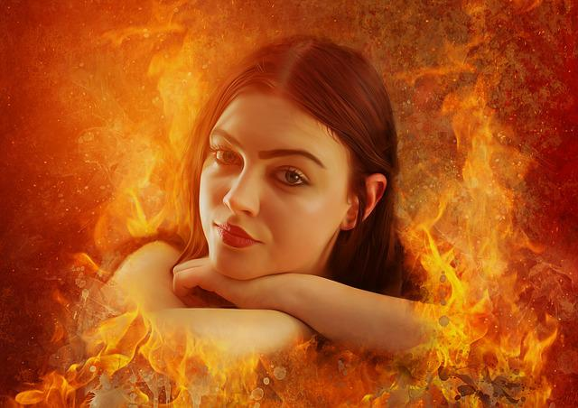 Fantasy, Girl, Woman, Beautiful, Portrait, Burn, Flames