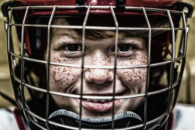 Hockey, Helmet, Face, Sport, Portrait, Grid, Visor
