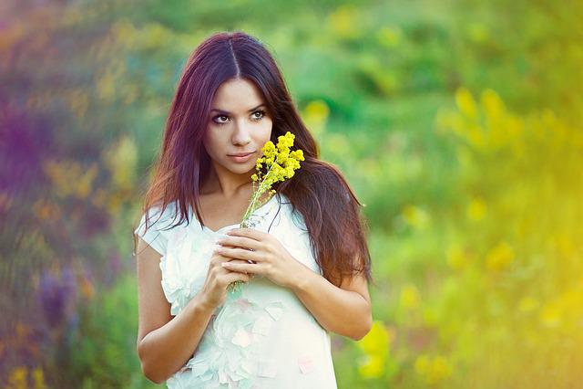 Portrait, Girl, Brunette, View, Nature, Flower