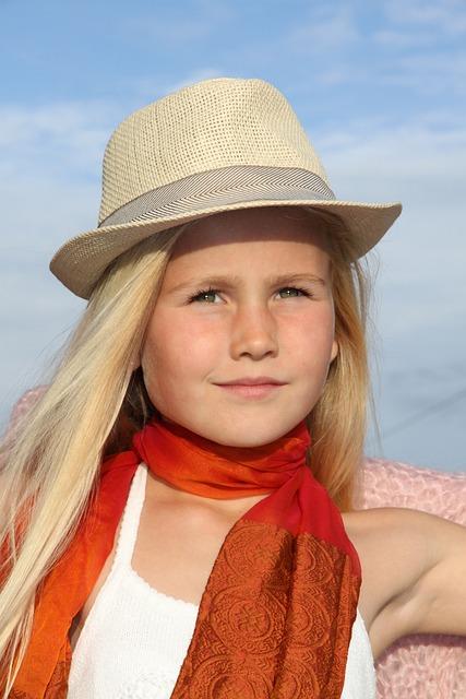 Girl, Hat, Blonde, Portrait, Orange Scarf, Beauty