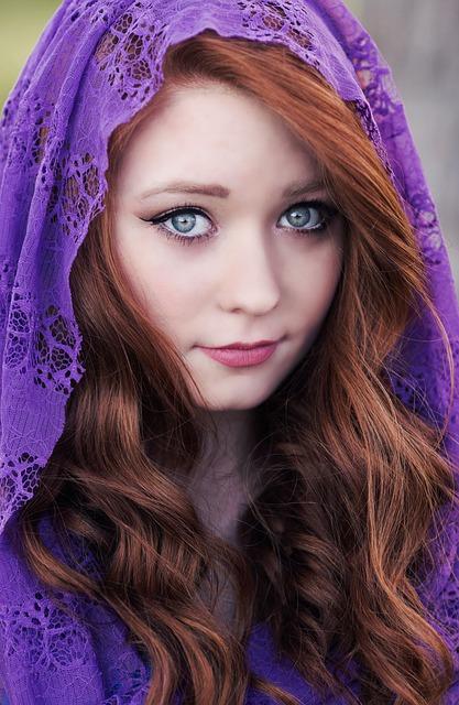 Redhead, Hair, Scarf, Eyes, Face, Portrait, Woman