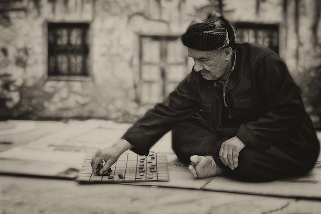 Man, Board Game, Old, Elderly, Portrait, People, Street