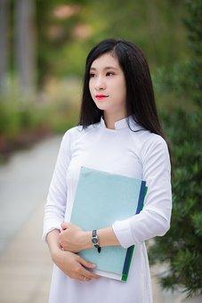 White, Girl, Portrait, Vietnamese, Asian, Female, Ao