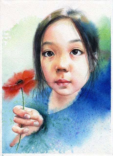 Watercolor Portrait, Children's, Portraits, Girl