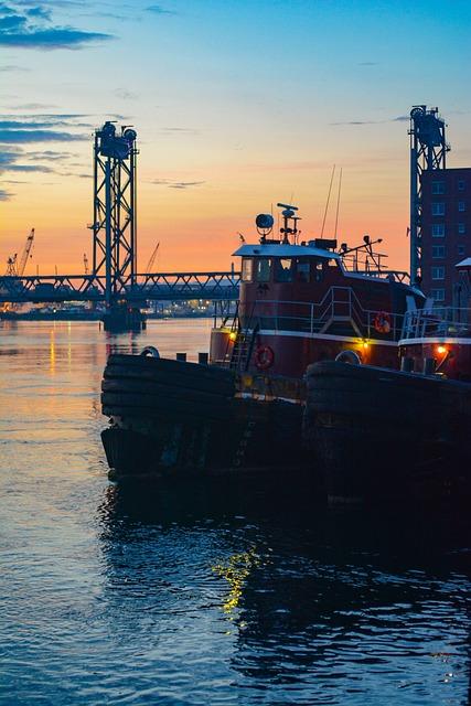 Tugboat, Portsmouth, Nh, Sunrise, Harbor, Marine, Boat