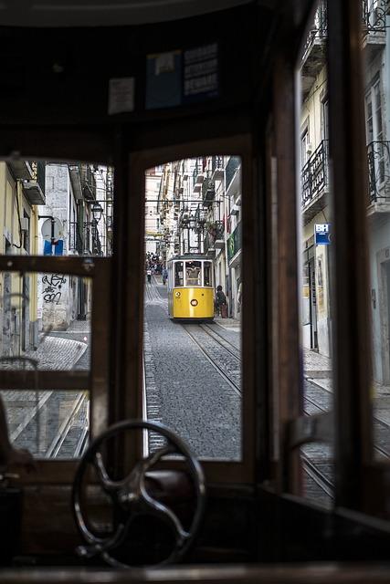 Lisabon, Portugal, Yellow, Travel, Color, Ascensor