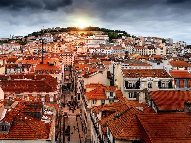Lisbon, Retouch, Sunset, Storm, City, Portugal, Horizon