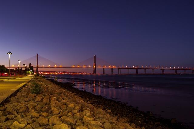 Lisbon, Night, Water, Portugal, Sunset, Rio, Bridge