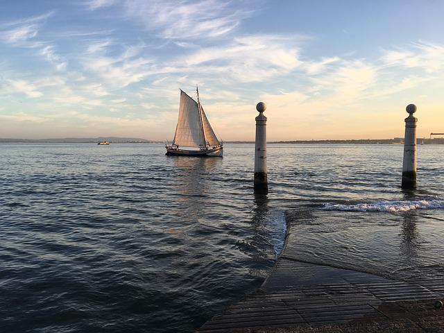 Portugal, Boat, Sailing, Lisbon, Sailing Ship, Sunset