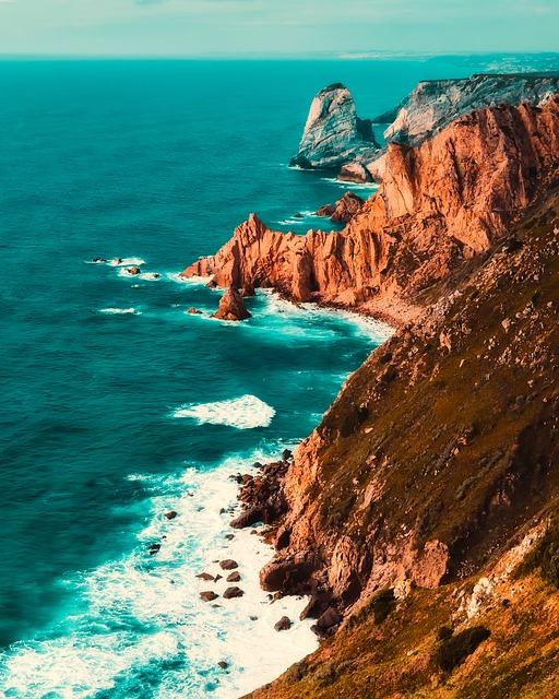 Portugal, Mountains, Cliff, Sea, Ocean, Waves