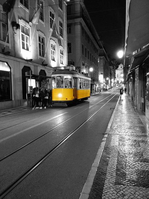 Portugal, Lisbon, Metro, Tram, Street, Yellow, Black