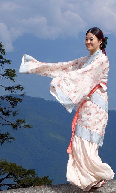 Japanese, Dancer, Pose, Woman, Young, Kimono, Tradition