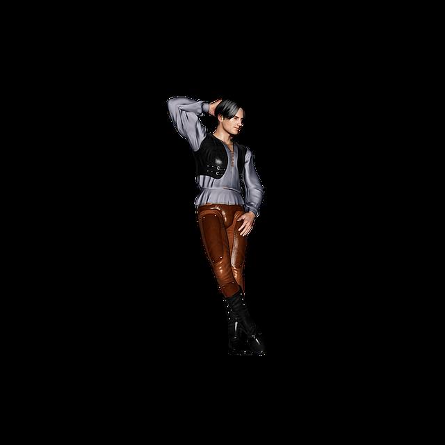 Man, Middle Ages, Boots, Leather Pants, Vest, Pose