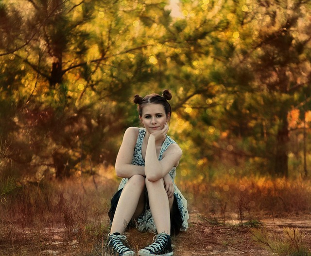 Girl, Sitting, Posing, Trees, Woods, Country, Young