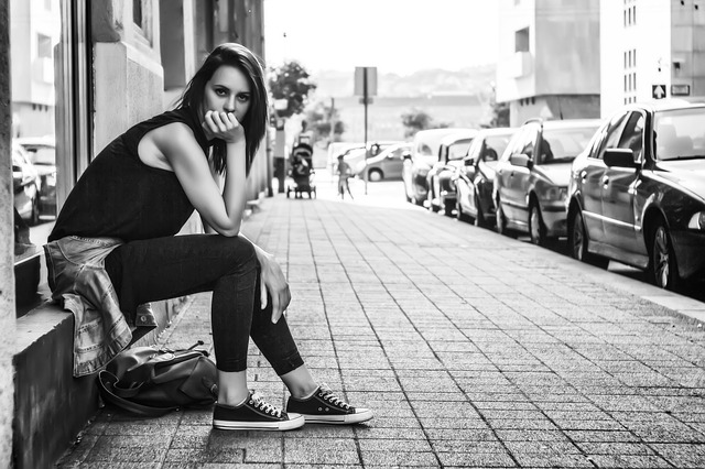 Female, Lady, Model, Pavement, Posing, Sidewalk, Street