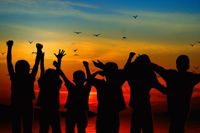 Children, Silhouette, Cheers, Positive, View, Joy