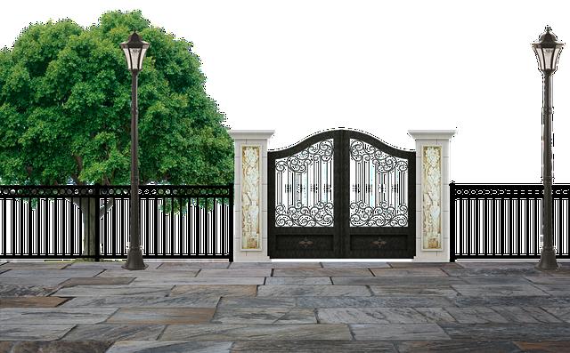 Park, Entrance, Gate, Fence, Pillars, Lamps, Post