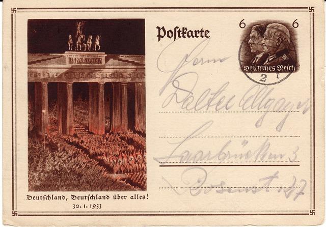 Postcard, German Empire, Stamp, Post, Penny, Retro