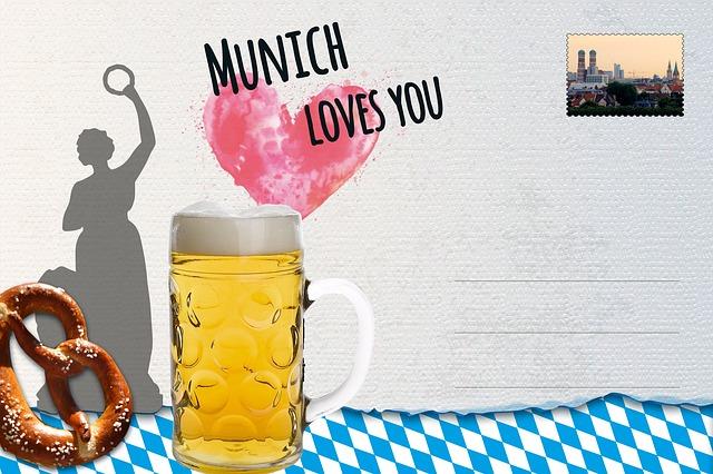 Postcard, Munich, Breze, Pretzel, Salty