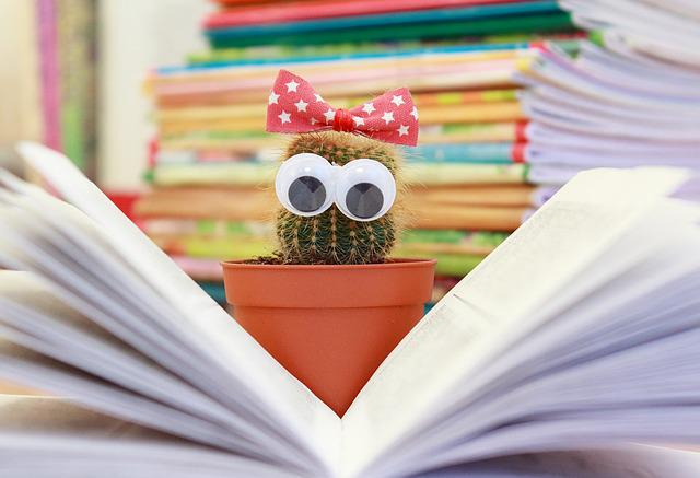 Cactus, Book, Flower, Pot, Read, Scratchy, Knowledge
