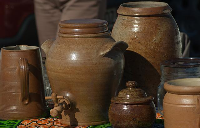 Pottery, Flea Market, Terracotta, Jars, Pots