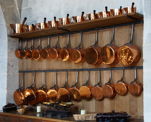 Kitchen, Copper, Pots, Pans, Shelf, Inside, Interior