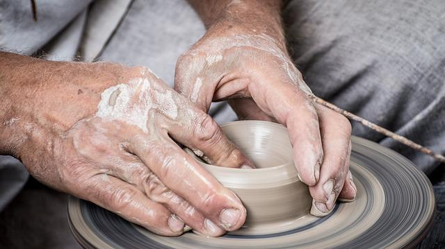 Hands, Clay, Potter, Pottery, Potter's Wheel, Dirty