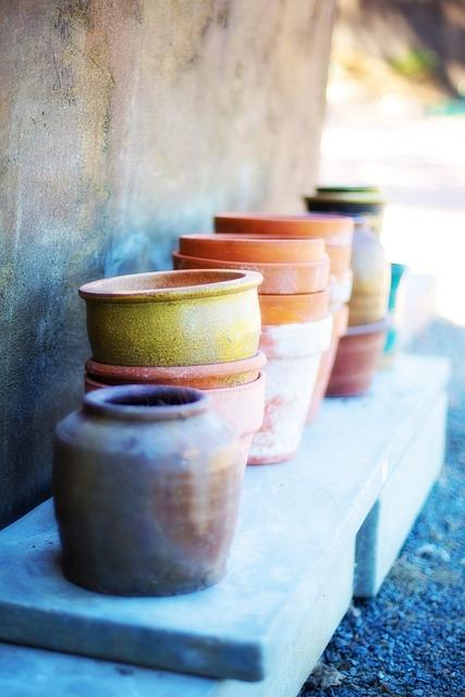 Flower Pots, Terracotta, Piles, Painted, Pottery