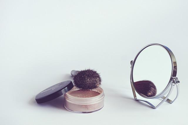 Cosmetics, Powder, Cosmetic Brush, Rearview Mirror