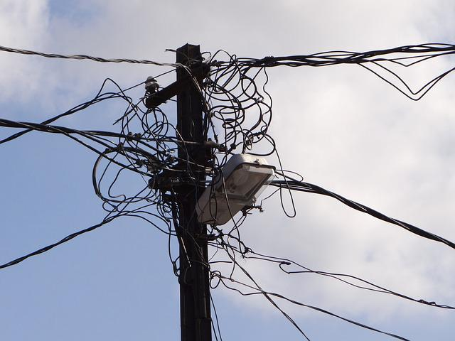 Power Line, Clutter, Cable Salad, Chaos, Knotted, Lines
