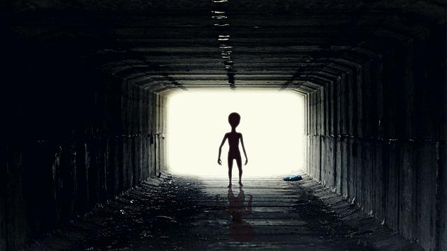 Ufo, Alien, Guy, Pozaziemianin, Ufoludek, Tunnel, Light