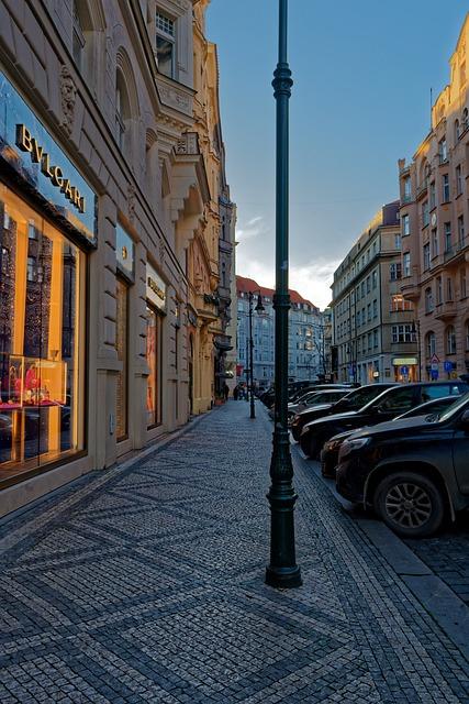 Prague, Street, Bvlgari, Cars, Car, Column, Building