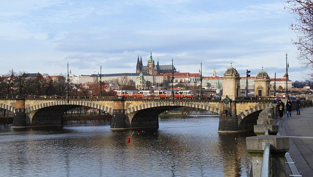Prague, Prague Castle, Vltava, River, Bridge