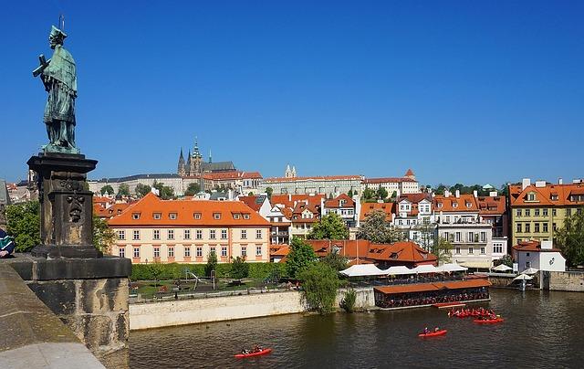 Castle, Prague, Czechia, Panaromic, River, Bridge