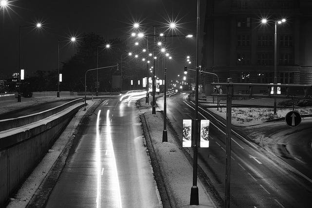 Prague, Winter, Snow, Lights, Cars, Night