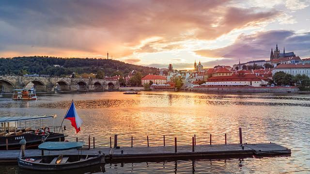 Prague, Sunset, River, Famous