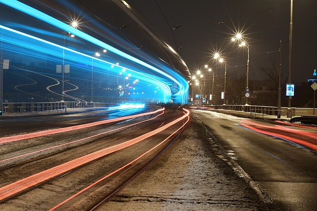 Prague, Winter, Tram, Lights, Night