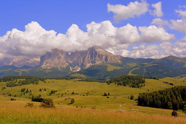 Dolomites, The Group Of The Sella, Mountain, Prairie