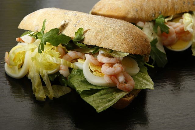 Sandwich, Eggs, Prawns, Salad, Rocket, Dining, Food